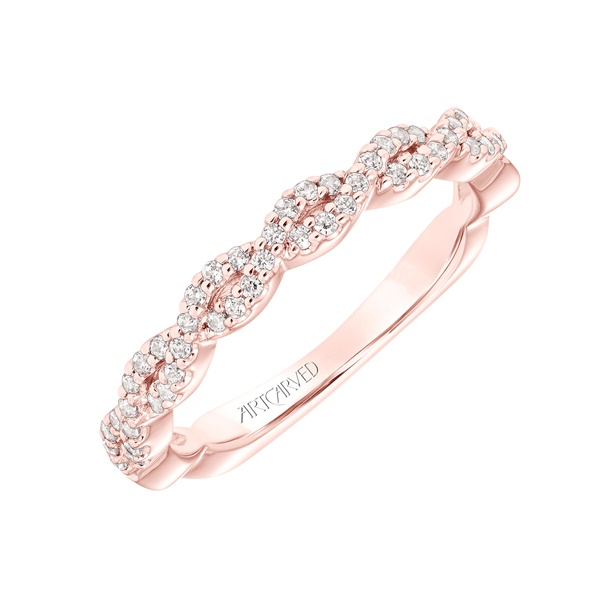 14kt Rose Gold and Diamond Braided Wedding Band by ArtCarved
