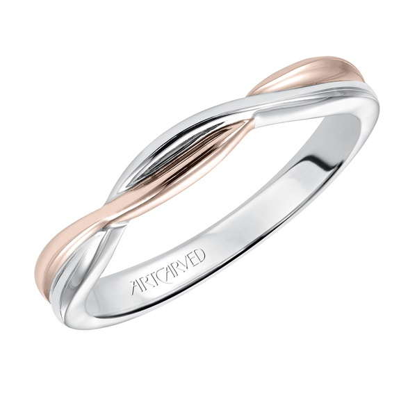 14kt Rose and White Gold Twist Wedding Band by ArtCarved