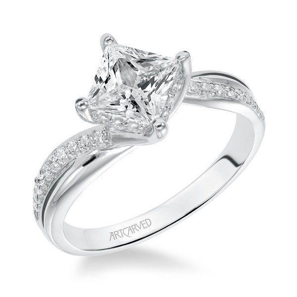 14kt White Gold and Square Diamond Engagement Ring by ArtCarved