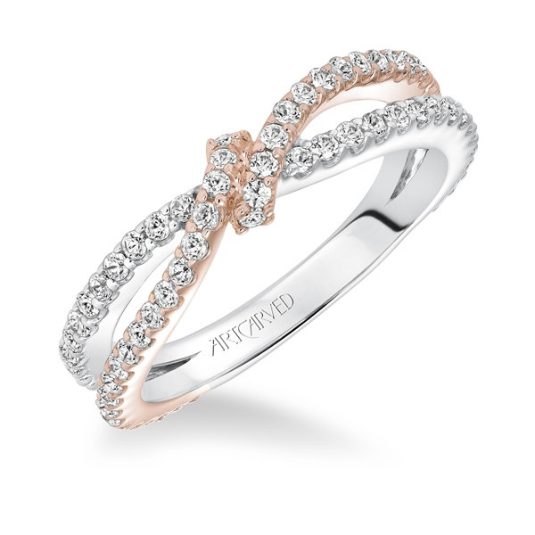 ArtCarved Two Tone Knotted Anniversary Diamond Band