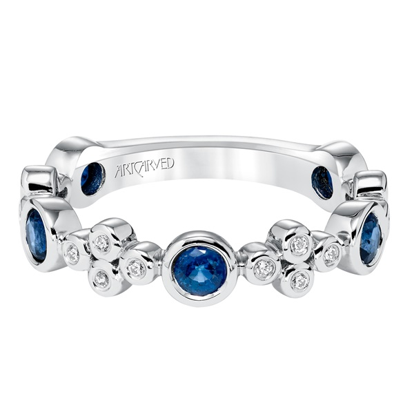 ArtCarved Sapphire & Diamond Bezel Set Stackable Band