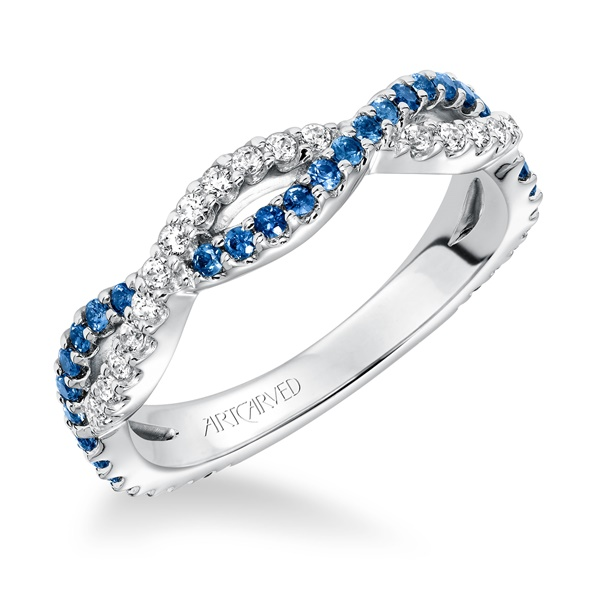 ArtCarved Sapphire & Diamond Twisted Band