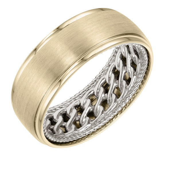 ArtCarved Inside and Out Wedding Band - Double Chain Pattern