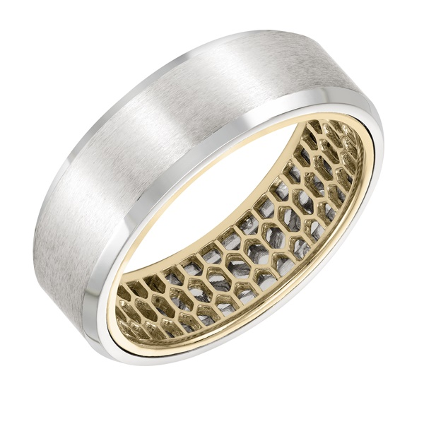 ArtCarved Inside and Out Wedding Band - Mesh Pattern