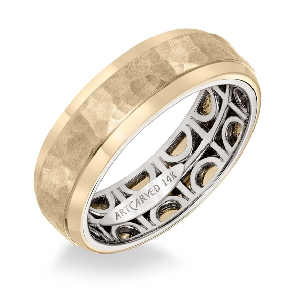 ArtCarved Inside and Out Wedding Band - Geometric Pattern