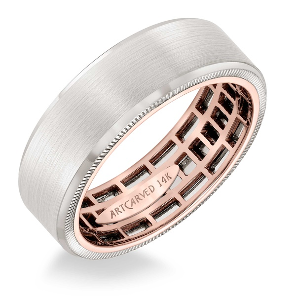 ArtCarved Inside and Out Wedding Band - Brick Pattern