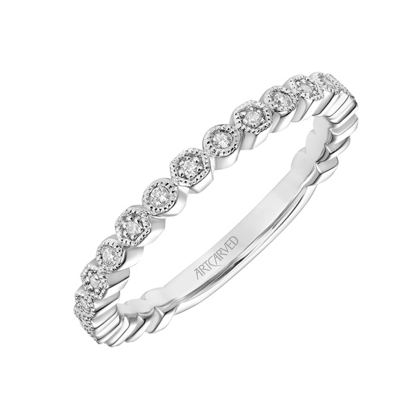 14kt White Gold and Diamond Wedding Band by ArtCarved