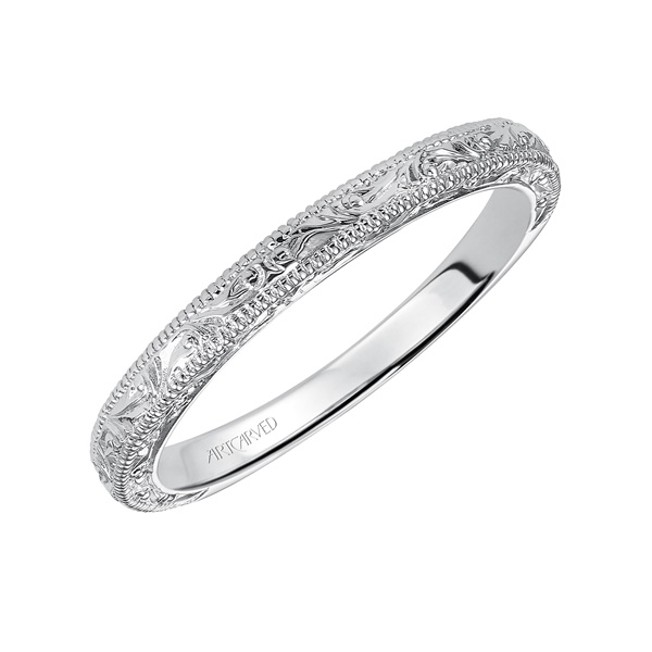 14kt White Gold Engraved Wedding Band by ArtCarved