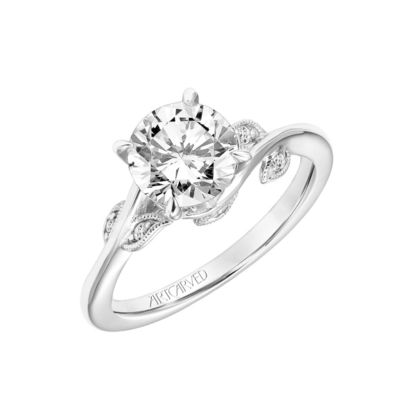 14kt White Gold Vine Design and Diamond Engagement Ring by ArtCarved