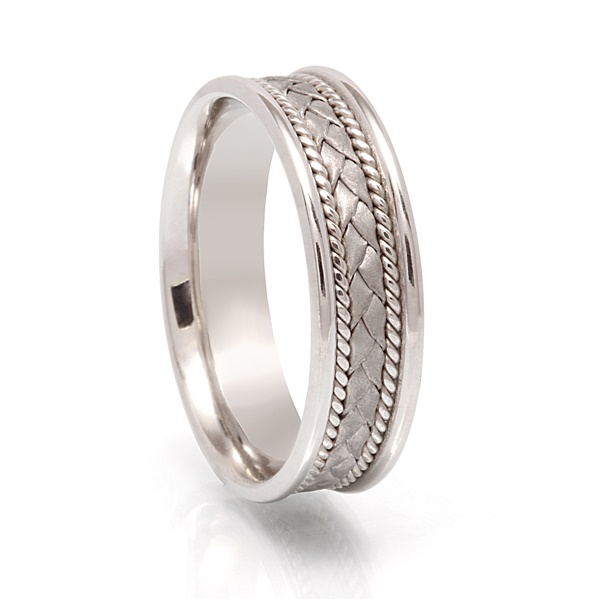Mens White Gold Woven Band