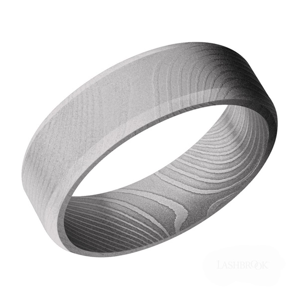 7mm Damascus Steel Beveled Edge with Bead Blast Finish Men's Wedding Band by Lashbrook Designs
