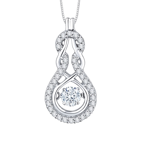 10k White Gold & Diamond Beat of The Heart Knot Necklace