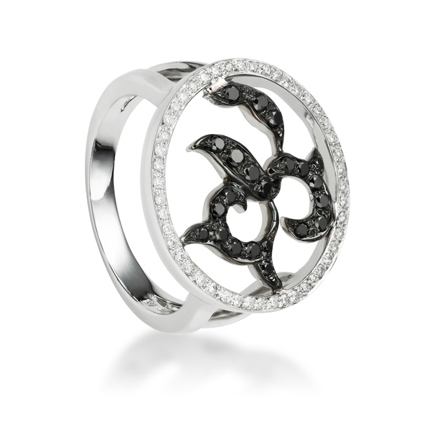 Black Diamond Floral Ring - 18K White Gold by Belloria