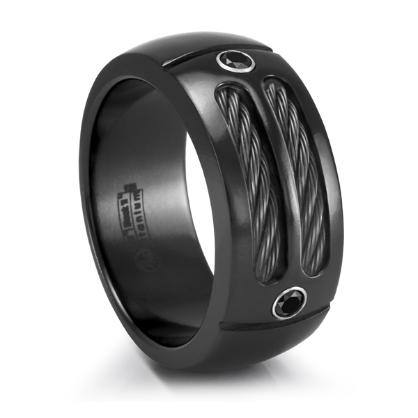 Edward Mirel MIDNITE SPORT RING Black Ti, Black Cable & Black Spinel Ring