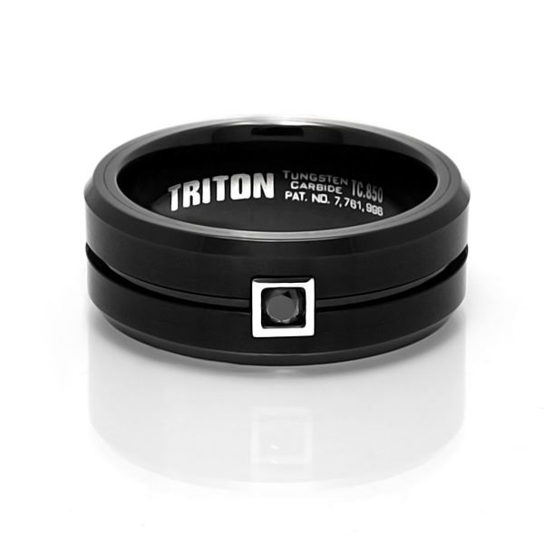 Triton LEAL Black Tungsten Ring with Black Diamond