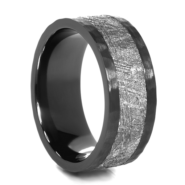 ASTRO Hammered Black Zirconium & Meteorite Ring by Lashbrook