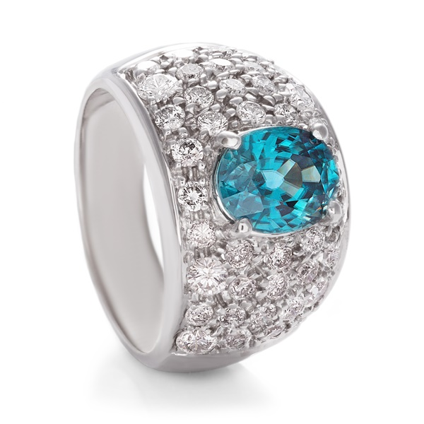 Ladies Blue Zircon Diamond Ring 14K White Gold