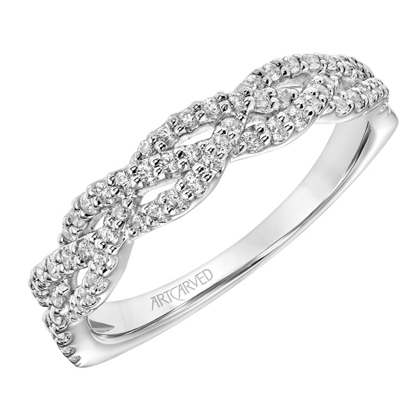 Three Row Diamond and 14kt White Gold Wedding Band by ArtCarved