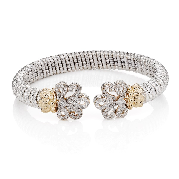 Alwand Vahan Bracelet - Fleur de Lis.  Diamonds, 14K Gold & Sterling Silver