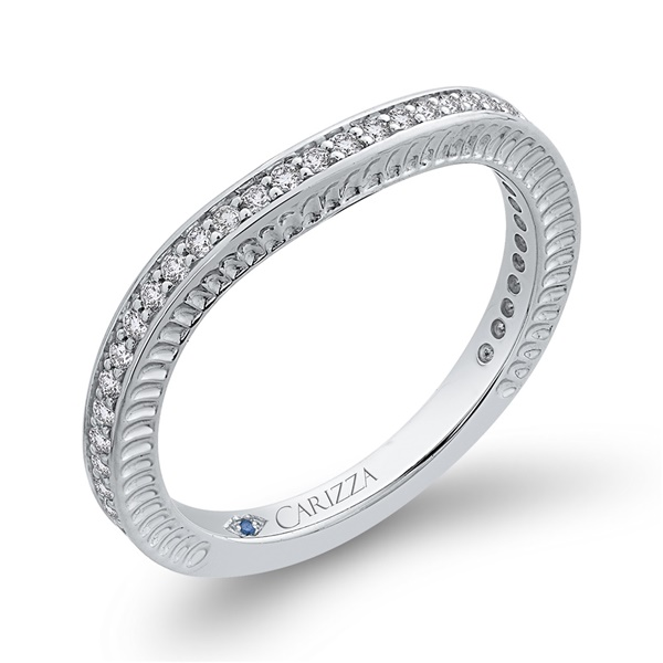 14kt White Gold and Diamond Three Quarter Eternity Band by Carizza