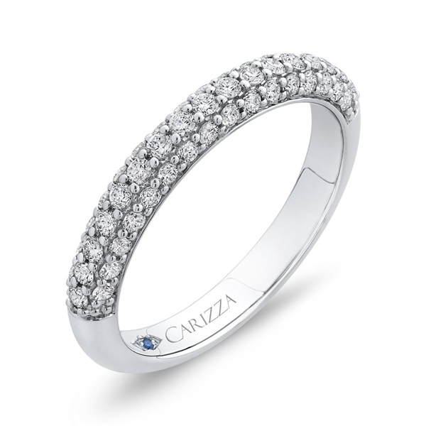 14kt White Gold and Diamond Half Eternity Wedding Band by Carizza
