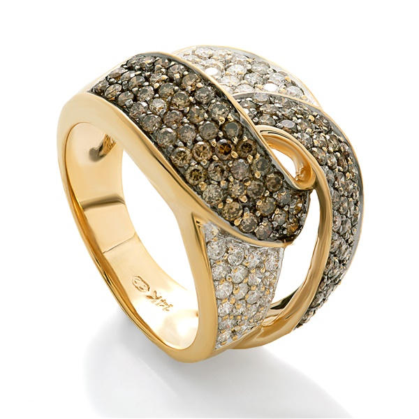 14K Yellow Gold, Chocolate Diamond Pave Wide Band