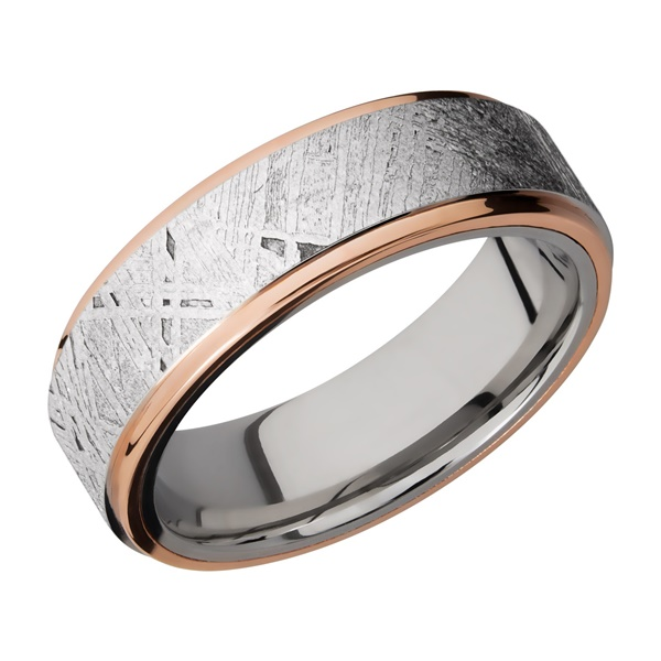 Cobalt Chrome, Rose Gold and Meteorite Band by Lashbrook Designs