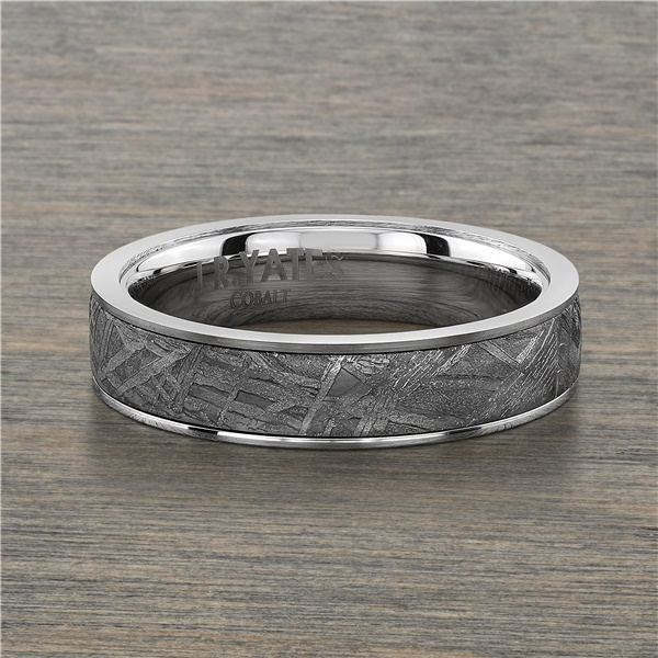 Cobalt Chrome & Meteorite Wedding Band, 5mm