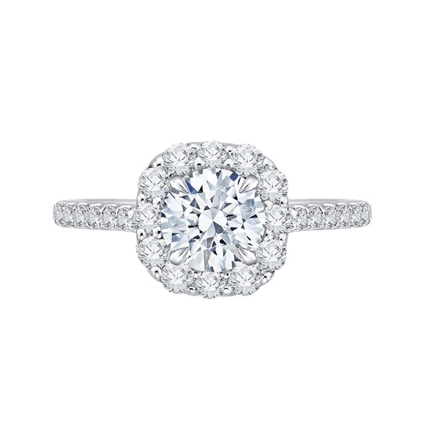 Carizza Cushion Halo Engagement Ring