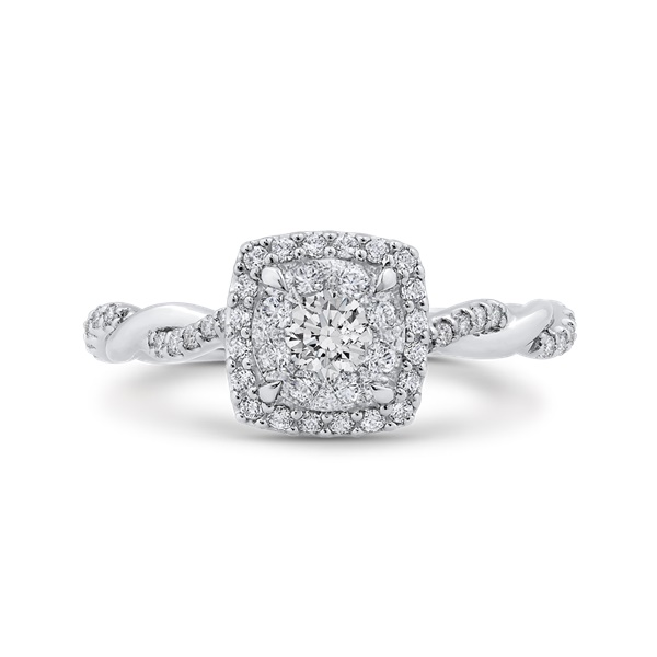 Luminous Cushion Shaped Cluster Diamond Engagement Ring