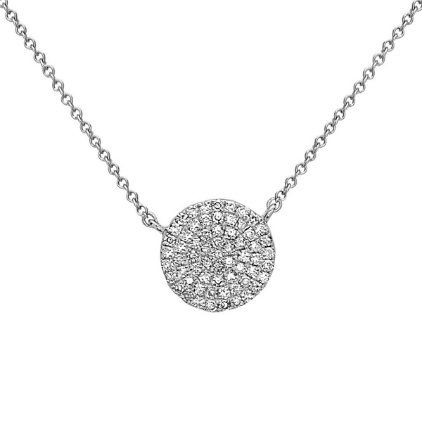 14K White Gold Diamond Disc Necklace by Bassali