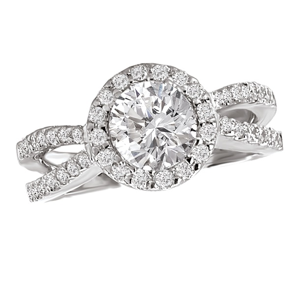 18K Diamond Halo Split Engagement Ring .55ctw