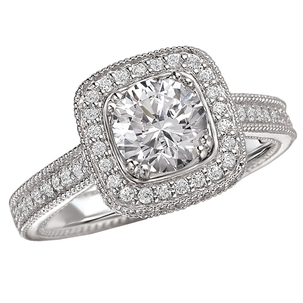 18K Diamond Engagement Ring With Cushion Halo .42ctw