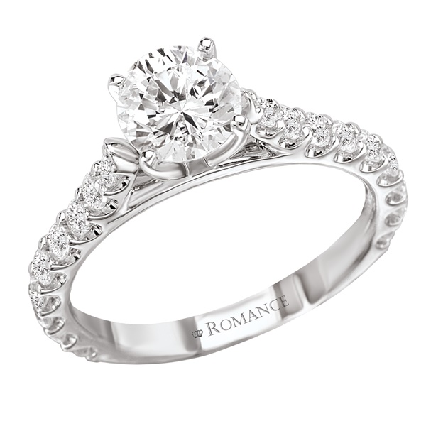 18K Diamond Engagement ring With Micro Set Diamonds .53ctw Romance Collection