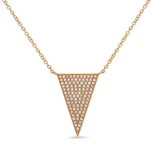 14K Yellow Gold Diamond Pave Triangle Necklace by Bassali
