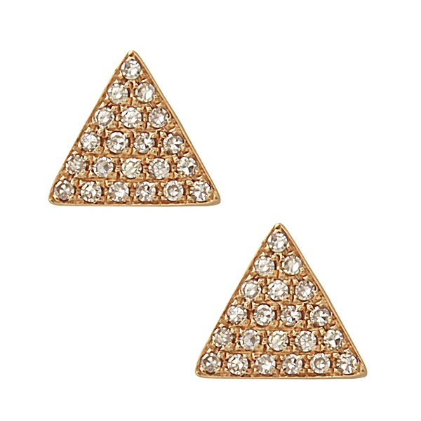 14K Gold and Diamond Triangle Earrings by Bassali