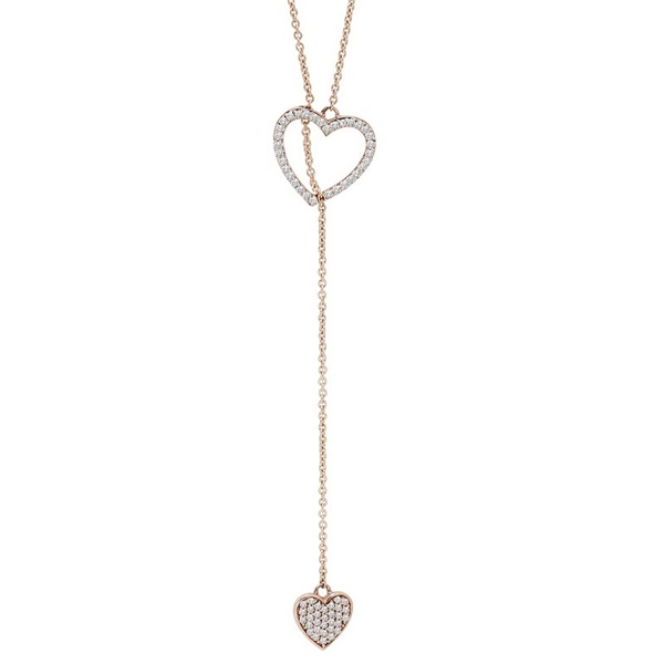 Double Heart Diamond Rose Gold Lariet Necklace