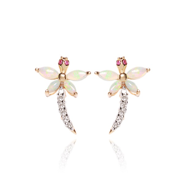 14K Gold, Opal and Diamond DRAGONFLY Earrings