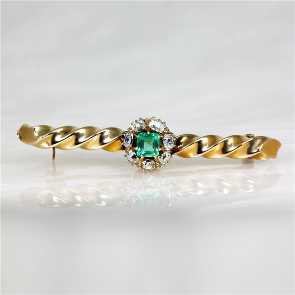 Early 1900's 14k Yellow Gold Diamond & Emerald Vintage Pin