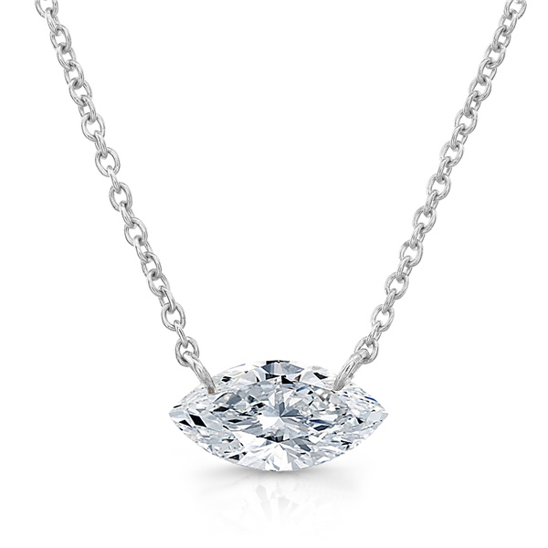 14k Gold, East to West Marquise Bare Diamond Necklace