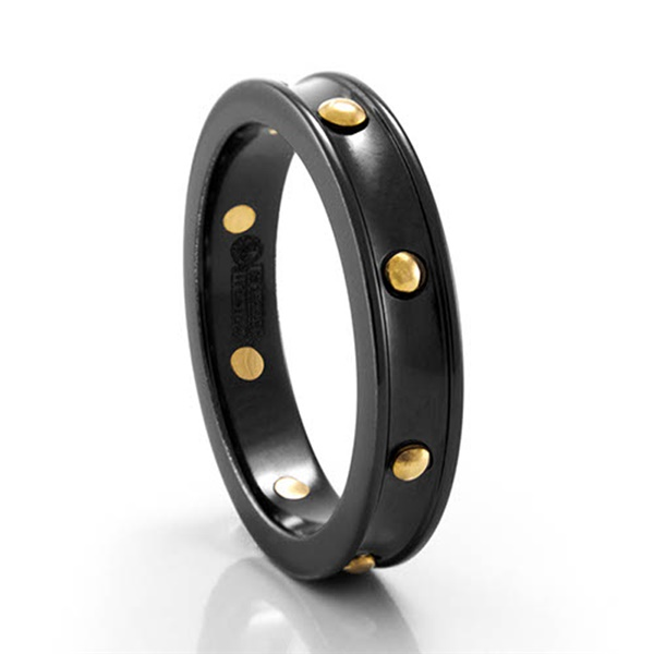 Black Ti & Yellow Gold 4mm Ring by Edward Mirell