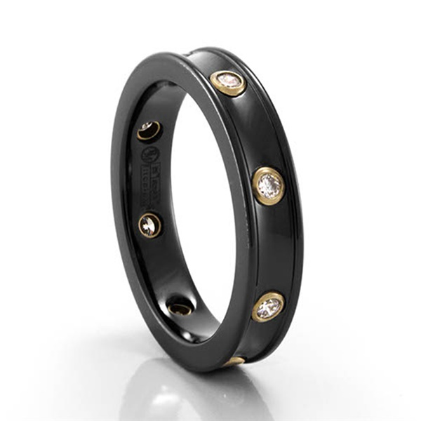 14k Yellow Gold, Black Titanium & Diamond Ring by Edward Mirell