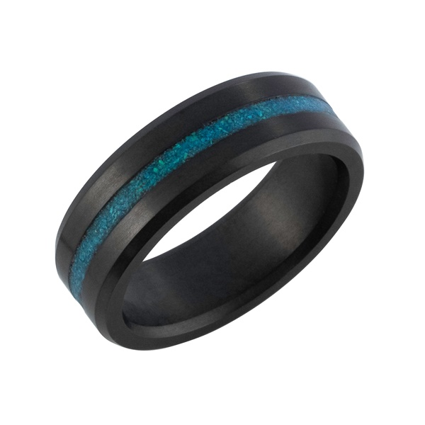 Elysium Solid Diamond Men's Wedding Band with Blue Opal Inlay