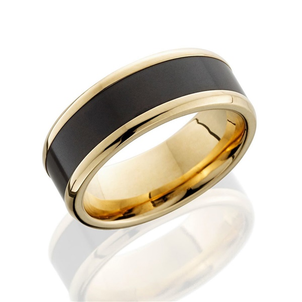 Elysium Ares Reverse Inlay 18k Yellow Gold Wedding Band
