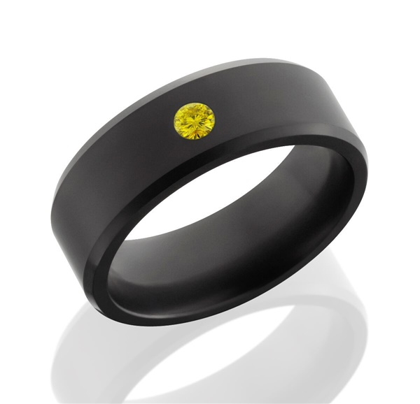 Elysium Solid Diamond Men's Wedding Band with Yellow Diamond