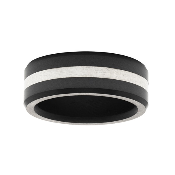Elysium Black Diamond & Platinum Inlay Wedding Band