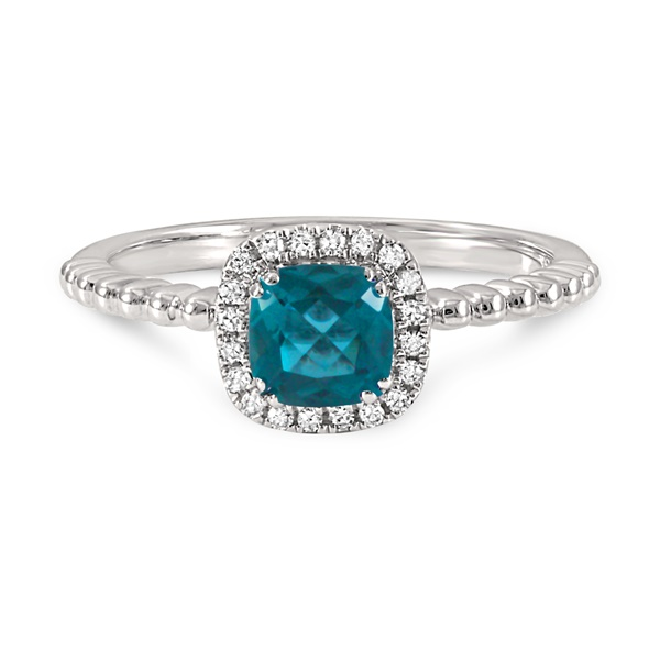 14k White Gold, Diamond and Blue Topaz Ring by Estenza