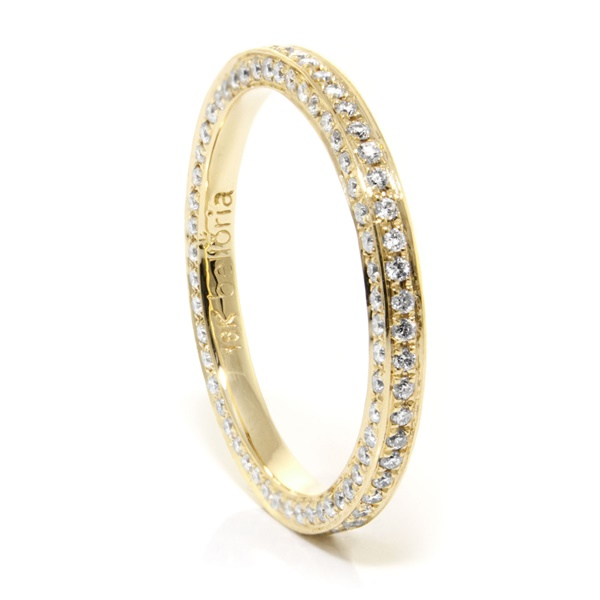 Ladies 18K Gold & Eternity Diamond Wedding Band by Belloria