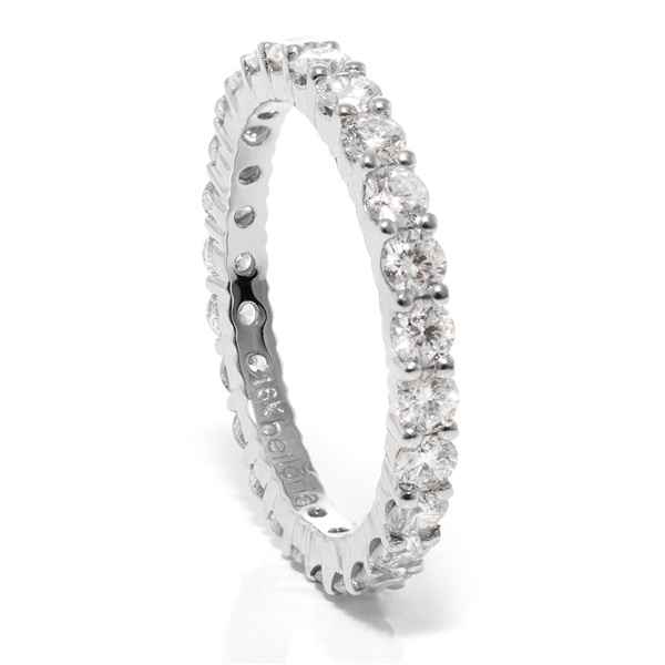 Ladies 18K White Gold & Eternity Diamond Wedding Band by belloria