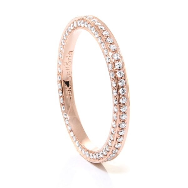 Ladies 18K Rose Gold & Eternity Diamond Wedding Band by Belloria